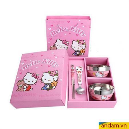Bộ bát đũa ăn dặm Hello Kitty màu hồng
