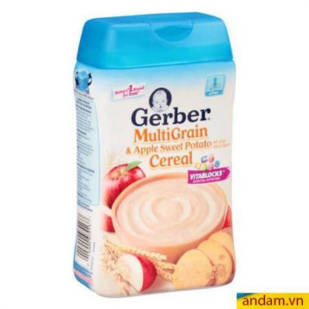 Bột ăn dặm Gerber vị ngũ cốc, táo, khoai lang
