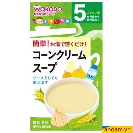 Bột ăn dặm Wakodo 5m+ vị sữa, bắp, hành tây