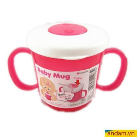 Cốc tập uống bằng ống hút màu hồng