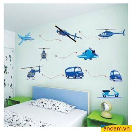 Decal dán tường hình ô tô, máy bay