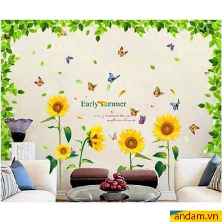 Decal dán tường tán lá lớn và hoa hướng dương