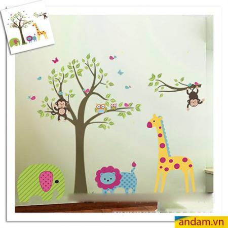 Decal dán tường vườn thú nhỏ voi xanh