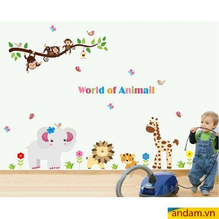Decal dán tường vườn thú nhỏ voi xám