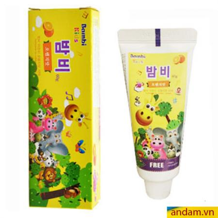 Kem đánh răng trẻ em Bambi Kids Hàn Quốc hương cam