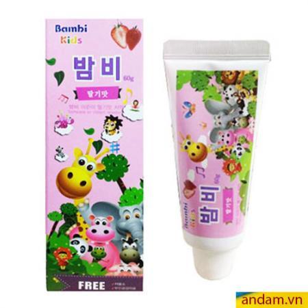 Kem đánh răng trẻ em Bambi Kids Hàn Quốc hương dâu