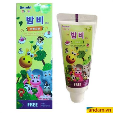 Kem đánh răng trẻ em Bambi Kids Hàn Quốc hương táo