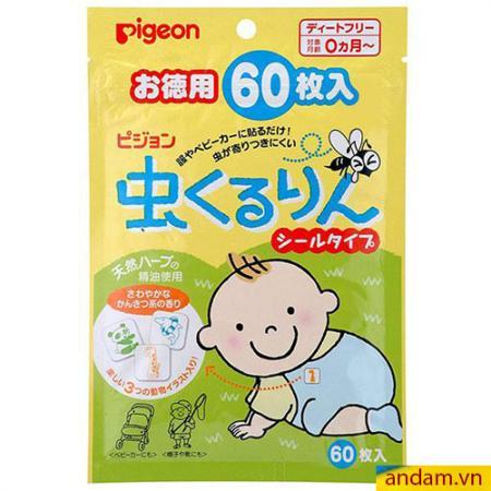 Miếng Dán Chống Muỗi Pigeon Nhật Bản (60 miếng)