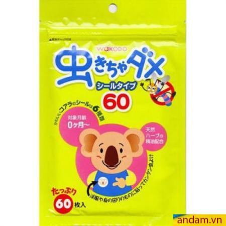 Miếng dán chống muỗi Wakodo Nhật Bản 60 miếng