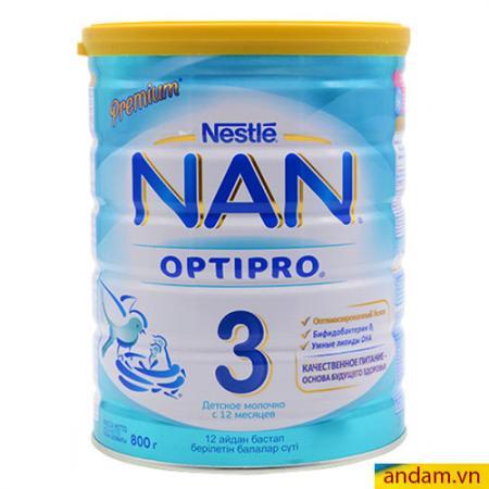 Sữa Nan Optipro Nga số 3 hộp thiếc 800g dành cho trẻ từ 1 đến 3 tuổi