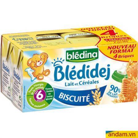 Sữa nước Bledina của Pháp vị Biscuite 6m+ lốc 4 hộp