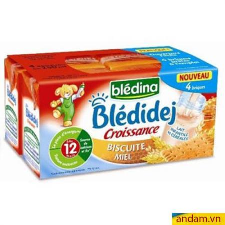Sữa nước Bledina của Pháp vị Biscuite và Mật ong 12m+ lốc 4 hộp