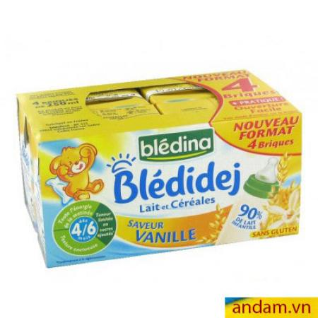 Sữa nước Bledina của Pháp vị Vani 4/6m+ lốc 4 hộp