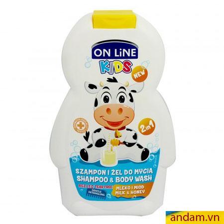 Sữa tắm gội 2in1 On Line Kids mùi sữa và mật ong