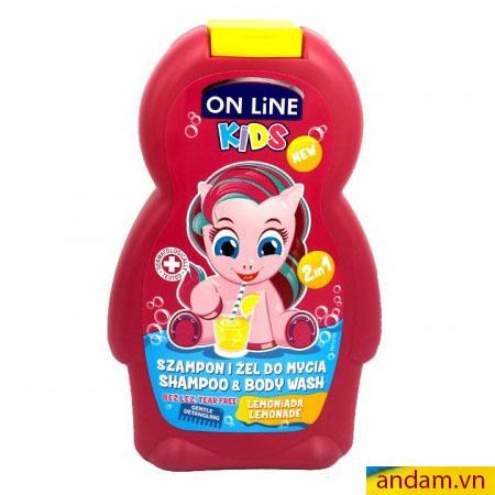 Sữa tắm gội 2in1 On Line Kids mùi chanh soda