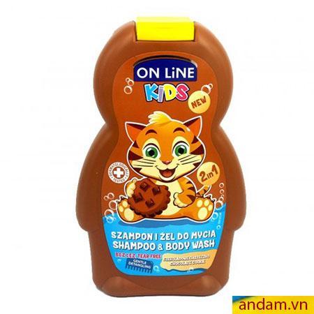 Sữa tắm gội 2in1 On Line Kids mùi cookie socola