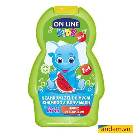 Sữa tắm gội 2in1 On Line Kids mùi dưa hấu
