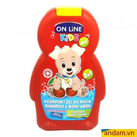 Sữa tắm gội 2in1 On Line Kids mùi quả cherry