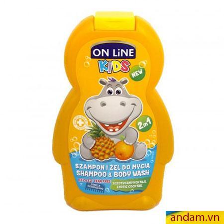 Sữa tắm gội 2in1 On Line Kids mùi thơm và cam