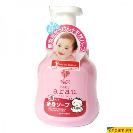 Sữa tắm gội toàn thân Arau 450ml màu hồng