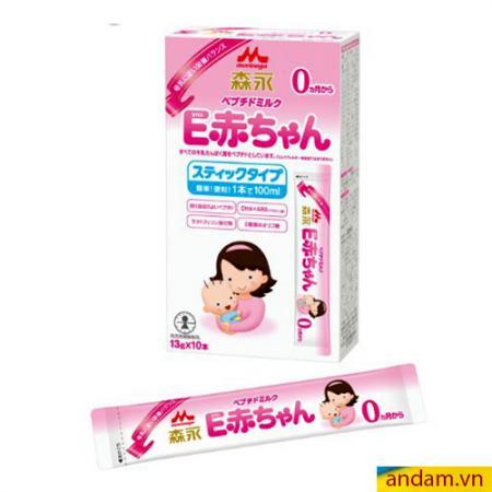 Sữa thanh Morinaga hộp giấy 10 thanh số 0 màu hồng