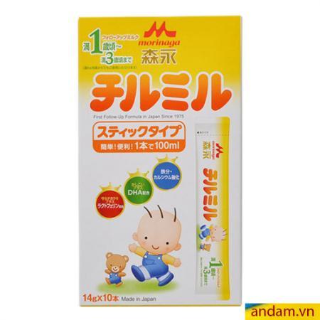 Sữa thanh Morinaga hộp giấy 10 thanh số 1-3 màu vàng
