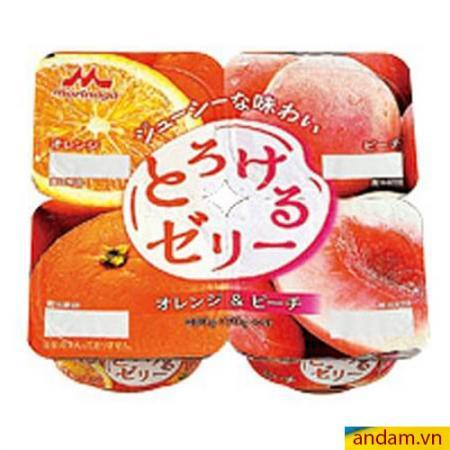 Thạch rau câu Morinaga vị đào, cam vỉ 4 hộp