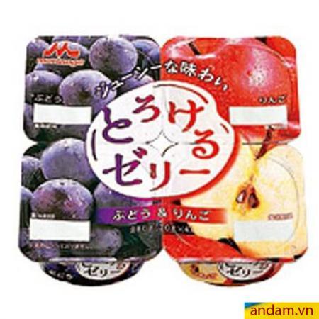 Thạch rau câu Morinaga vị táo, nho vỉ 4 hộp
